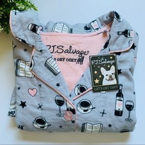 PJ Salvage Top Flannel in Light Grey Champagne